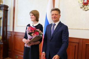 Ольга Буракова с министром транспорта РФ Максимом Соколовым