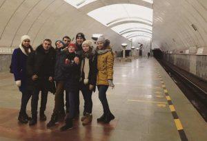 Часть олимпиадников ТИУ в метро Екатеринбурга