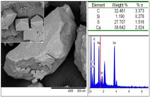 EDS-анализ: гипс на зерне кварца, нивальные отложения, Непал, Эверест (базовый лагерь)